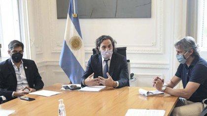 Los jefes de Gabinete Felipe Miguel (Ciudad), Santiago Cafiero (Nación)y Carlos Bianco  (Provincia)