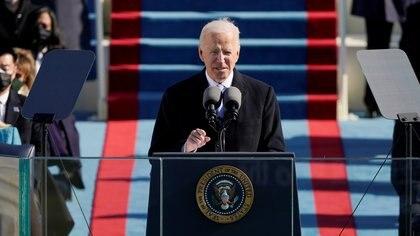 U.S. President Joe Biden speaks during the 59th Presidential Inauguration at the U.S. Capitol in Washington January 20, 2021. Patrick Semansky/Pool via REUTERS