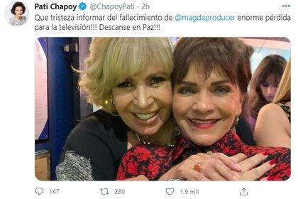 """Pati Chapoy se hizo amiga de Magda durante la estancia de la productora en TV Azteca, donde triunfó con el programa """"Enamorándonos"""" (Foto: Captura de pantalla)"""