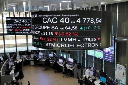 El índice bursátil CAC 40 de Francia y la información de cotización de acciones de compañías se muestran en pantallas en la Bolsa de París, operada por Euronext NV, en el distrito de negocios La Defense en París, Francia. 14 de diciembre, 2016. REUTERS/Benoit Tessier
