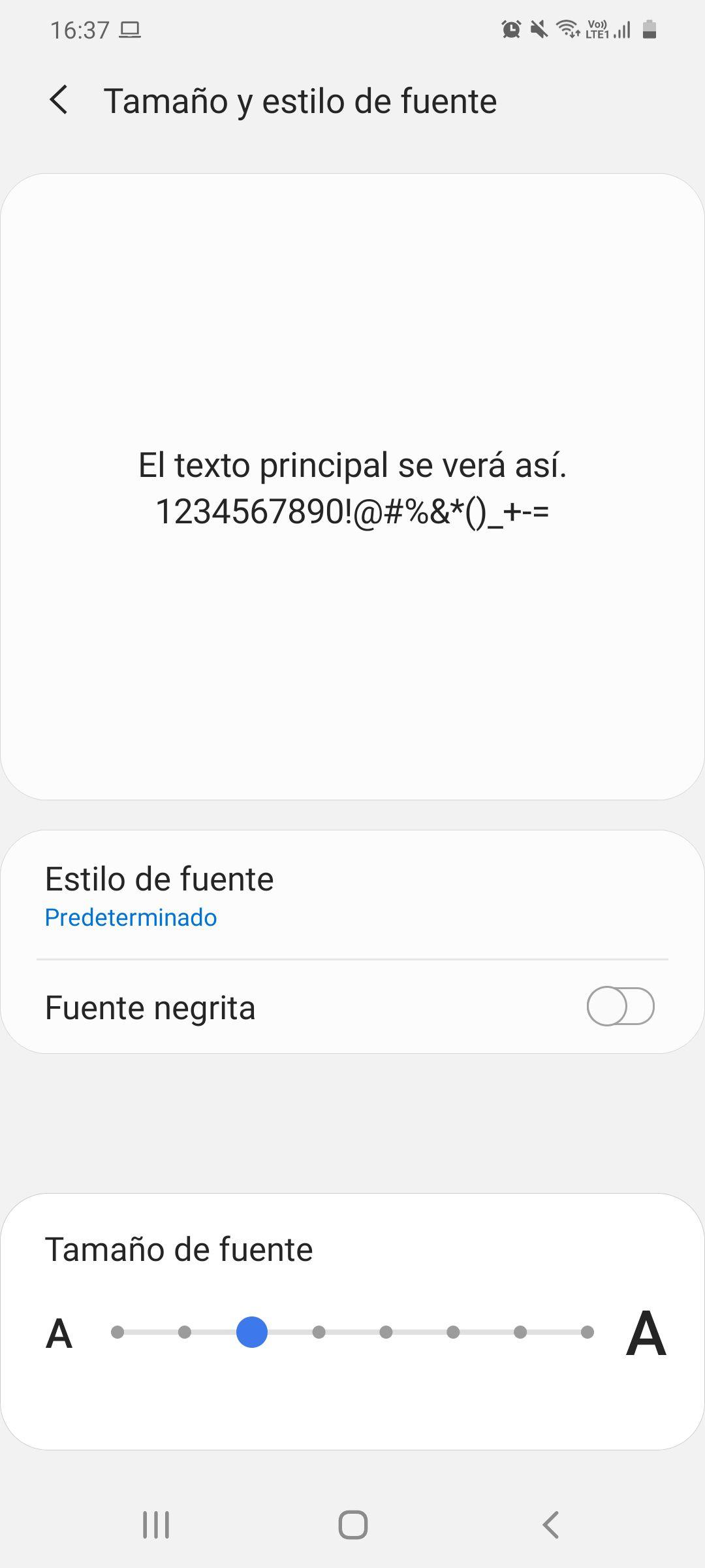 Tamaño de letra en Android