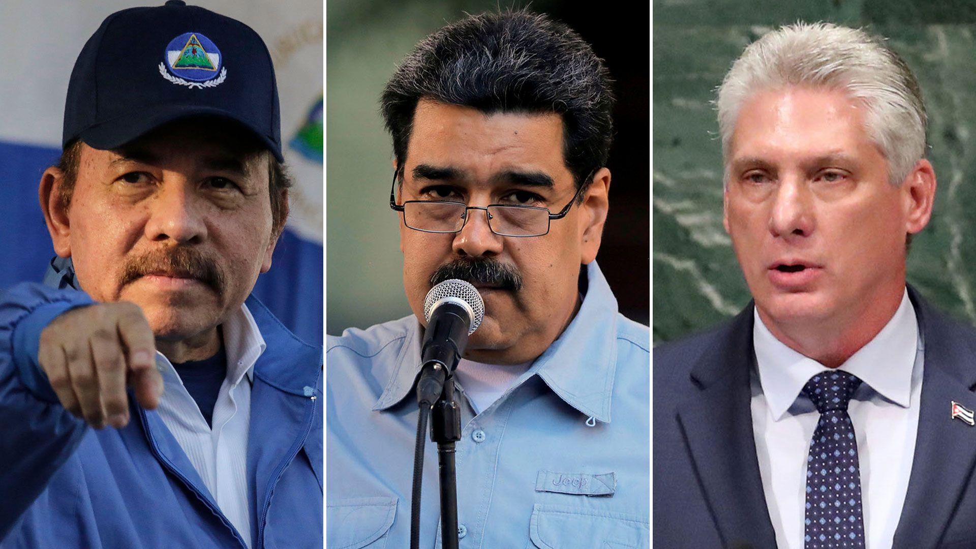 Daniel Ortega, Nicolás Maduro y Miguel Díaz Canel