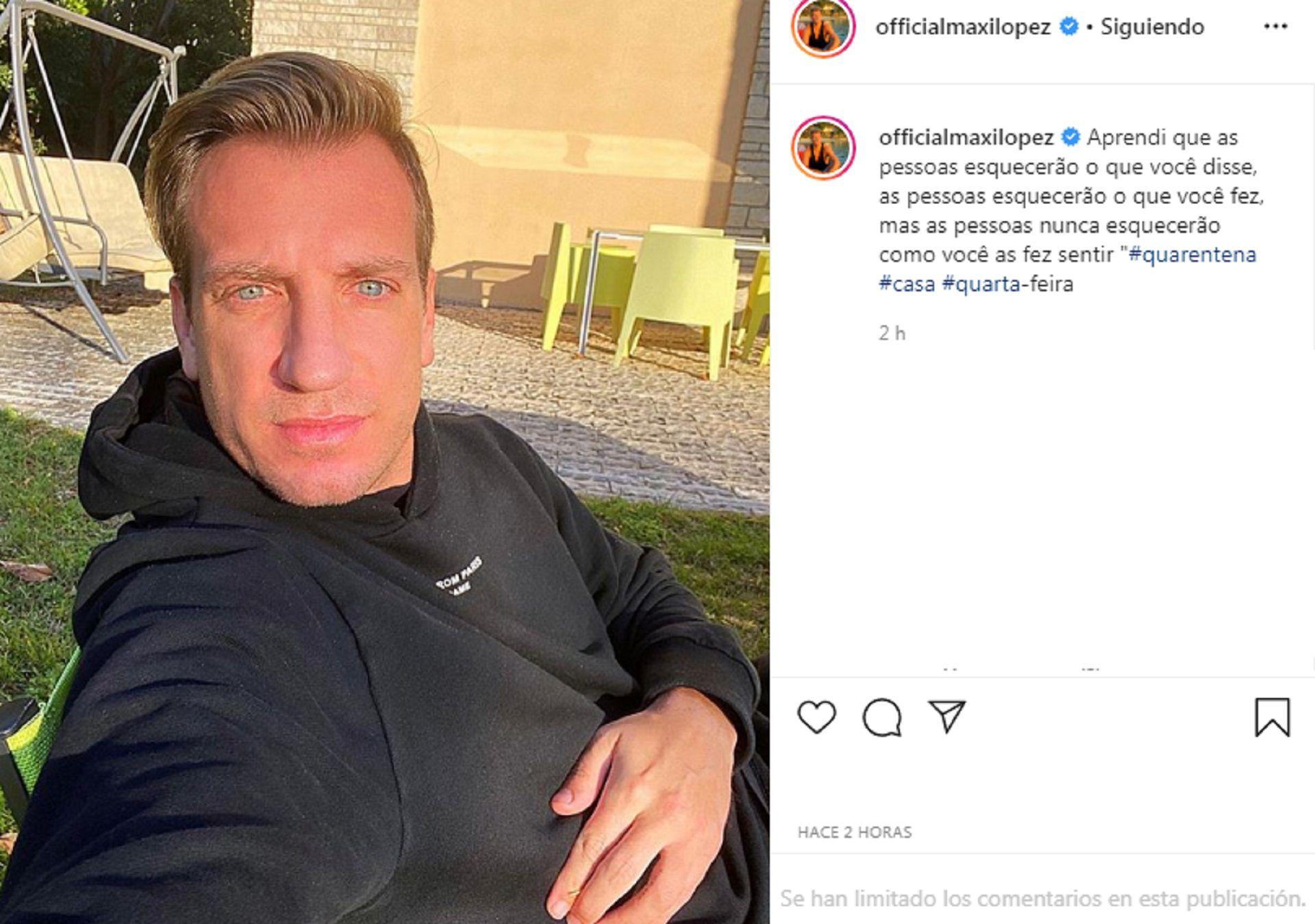 El posteo de Maxi López en su cuenta de Instagram