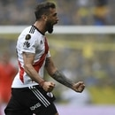 River Plate's Lucas Pratto celebrates after scoring against Boca Juniors during their first leg match of the all-Argentine Copa Libertadores final, at La Bombonera stadium in Buenos Aires, on November 11, 2018. (Photo by Eitan ABRAMOVICH / AFP)
