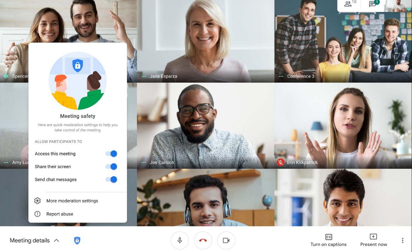 Se sumaron nuevas herramientas de seguridad a Google Meet.