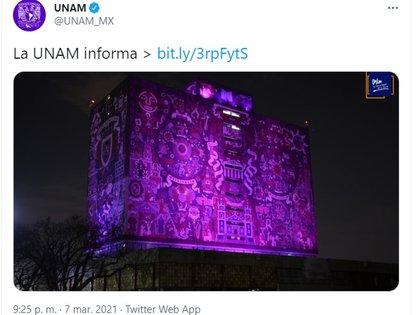 """""""Recomendamos a las entidades y dependencias ser empáticas con las mujeres universitarias que decidan de forma libre, voluntaria y personal participar en el paro del 9M, sin repercusiones académicas y laborales"""", pidió la UNAM (Foto: captura de pantalla Twitter @UNAM_MX)"""