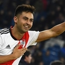 River Plate's Gonzalo Martinez celebrates after winning the second leg match of the all-Argentine Copa Libertadores final against Boca Juniors, at the Santiago Bernabeu stadium in Madrid, on December 9, 2018. - River Plate came from behind to beat bitter Argentine rivals Boca Juniors 3-1 in extra time. (Photo by Gabriel BOUYS / AFP)