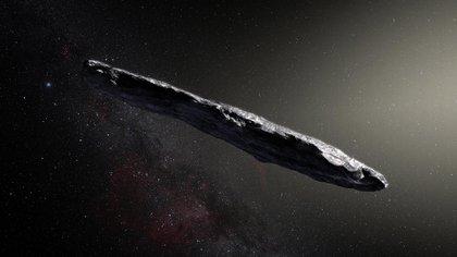 Una impresión artística del primer asteroide interestelar: Oumuamua (AFP)