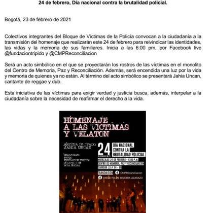Convocatoria de velatón en Bogotá.