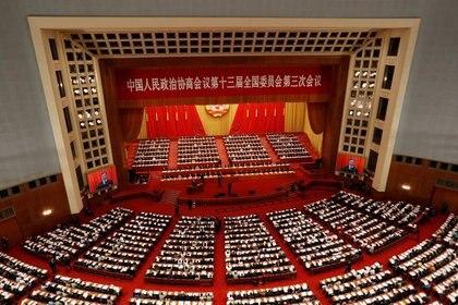 Conferencia Consultiva Política del Pueblo Chino en la Gran Sala del Pubelo en Beijing (REUTERS/Carlos Garcia Rawlins)