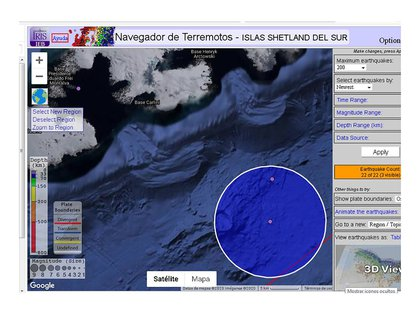 Un navegador de terremotos con información sismográfica de las Islas Shetland del Sur, donde se encuentra emplazada la estación científica Carlini