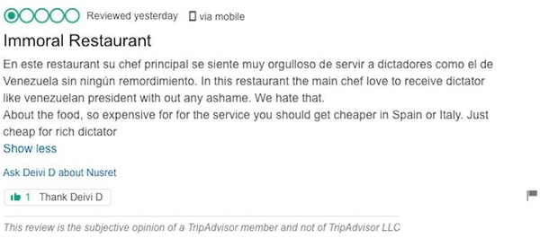 La gente está dejando reseñas de una estrella para el restaurante de Salt Bae después de servir bistec al presidente de Venezuela
