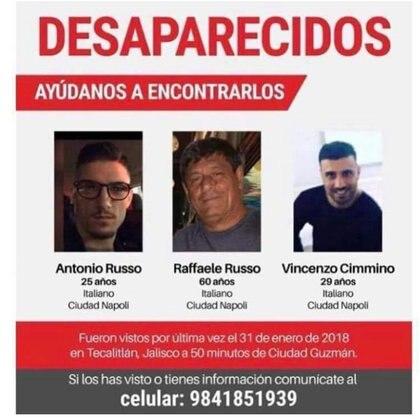 Los ciudadanos italianos Antonio Russo, Raffaele Russo y Vincenzo Cimmino fueron vistos por última vez en la ciudad de Tecalitlán, estado de Jalisco (EFE/ STR)