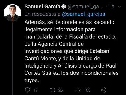 """Samuel García utilizó su cuenta oficial de Twitter para pronunciarse en contra de las acusaciones realizadas por Adrián de la Garza, aspirante a la gubernatura de Nuevo León por parte de la coalición """"Va Fuerte por Nuevo León"""" (Foto: Twitter/ @samuel_garcias)"""