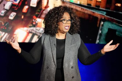 Oprah Winfrey talks on stage during a taping of her TV show in the Manhattan borough of New York City, New York, U.S., February 5, 2019. REUTERS/Carlo Allegri