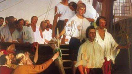 El regreso de Juan Sebastián de Elcano a Sevilla, cuadro de Elías Salaverría Inchaurrandieta