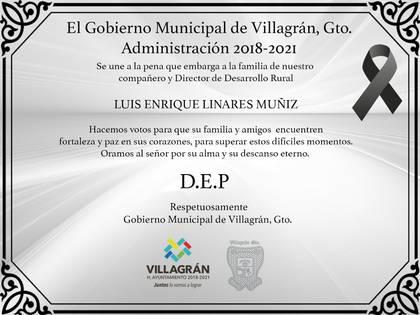 El gobierno municipal de Villagrán externó sus condolencias a la familia del funcionario (Foto: Facebook)