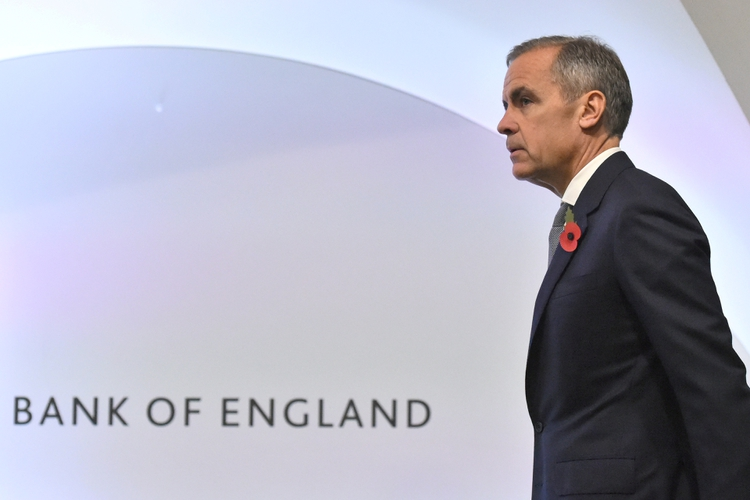 FILE PHOTO: Bank of England Governor Mark Carney attends a Bank of England news conference, in the City of London, Britain November 1, 2018. Kirsty O'Connor/Pool via REUTERS/File Photo