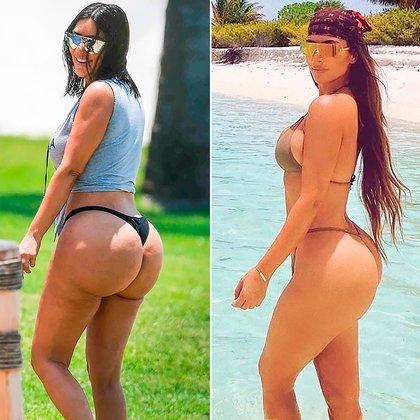 """Kim Kardashian afirmó que las imágenes """"horribles"""" tomadas por los paparazzi durante un viaje a México en abril de 2017 (izquierda) fueron """"retocadas"""" con Photoshop para ser poco halagadoras y perjudicarla. La foto de la derecha fue publicado por la mediática en Instagram en octubre de 2019"""