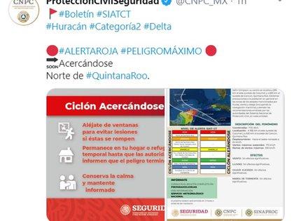 Emitieron Alerta Roja, o Peligro Máximo, para el norte de Quintana Roo (Foto: Twitter: @CNPC_MX)