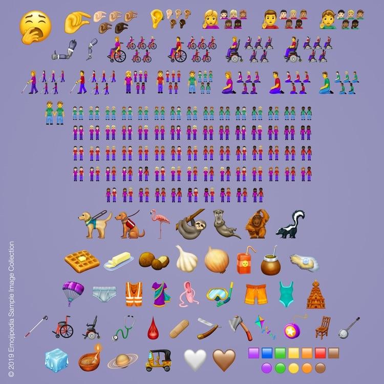 Los 230 nuevos emojis que fueron aprobados por Unicode para este año.