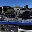 GRAF1971. ALCALÁ DE GUADAÍRA (SEVILLA), 01/06/2019.- Imagen que muestra el vehículo en el que viajaba el futbolista Antonio Reyes tras el accidente mortal que ha sufrido este sábado en el kilómetro 17 de la A376, en la provincia de Sevilla. EFE/ Rafa Alcaide