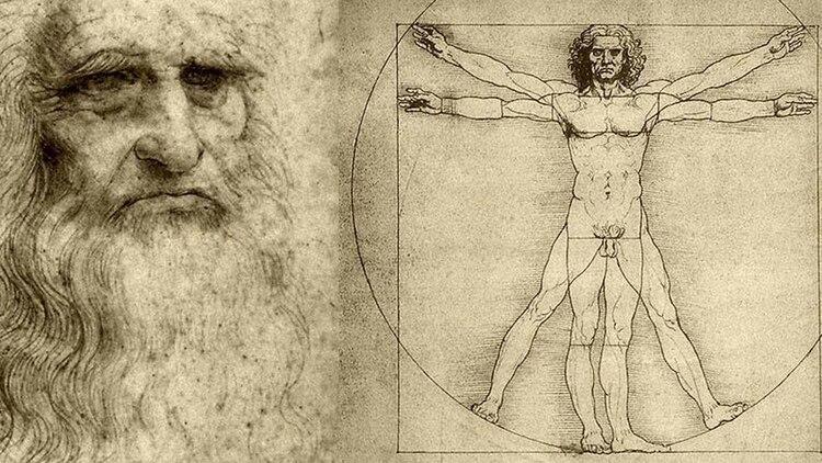 """""""Autorretrato"""", de un lado, y del otro, una de las obras más perfectas de Leonardo: """"El Hombre de Vitruvio"""" o """"Estudio de las proporciones ideales del cuerpo humano"""""""