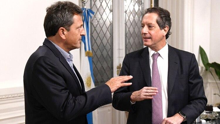 El presidente de la Cámara de Diputados, Sergio Massa, y el presidente del Banco Central, Sergio Pesce