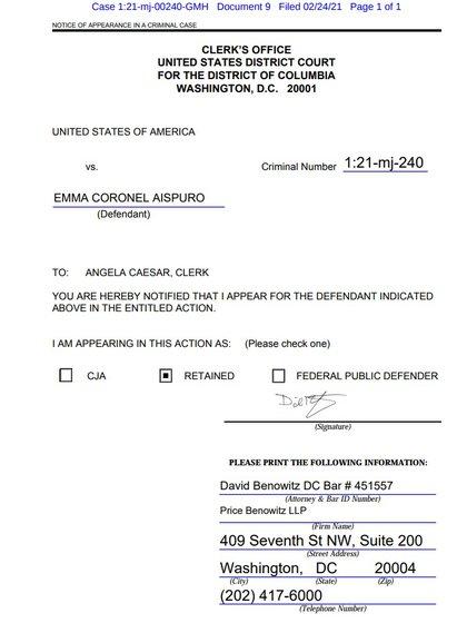 David Barry Benowitz es quien aparece pública y formalmente como defensor de la acusada ante la Corte del Distrito de Columbia (Foto: District Columbia)