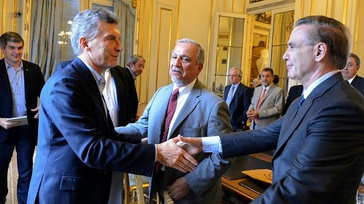 El presidente Mauricio Macri y Pichetto, en uno de los muchos encuentros que mantuvieron en Casa Rosada (NA)
