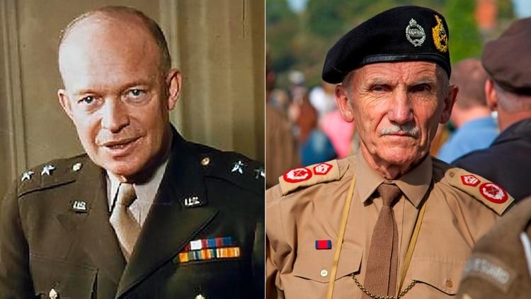 Los líderes aliados: Comandante en Jefe Supremo de la Fuerza Expedicionaria aliada, general Dwight D. Eisenhower (EEUU) y el Comandante del 21° grupo de ejército, general Bernard Montgomery (RU) (Grosby)