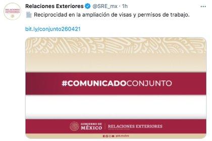 Los gobiernos de EEUU y México enviaron un comunicado conjunto respecto a la expedición de visas de trabajo para ciudadanos de ambos países (Foto: captura de pantalla / Twitter@SRE_mx)