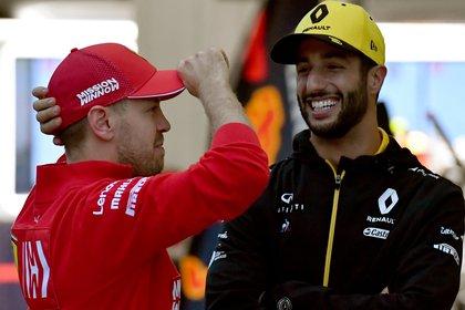 Sebastian Vettel y Daniel Ricciardo completan el podio de los pilotos mejores pagos por detrás de Hamilton (AFP)
