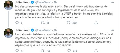 Parte de las publicaciones del intendente de La Plata