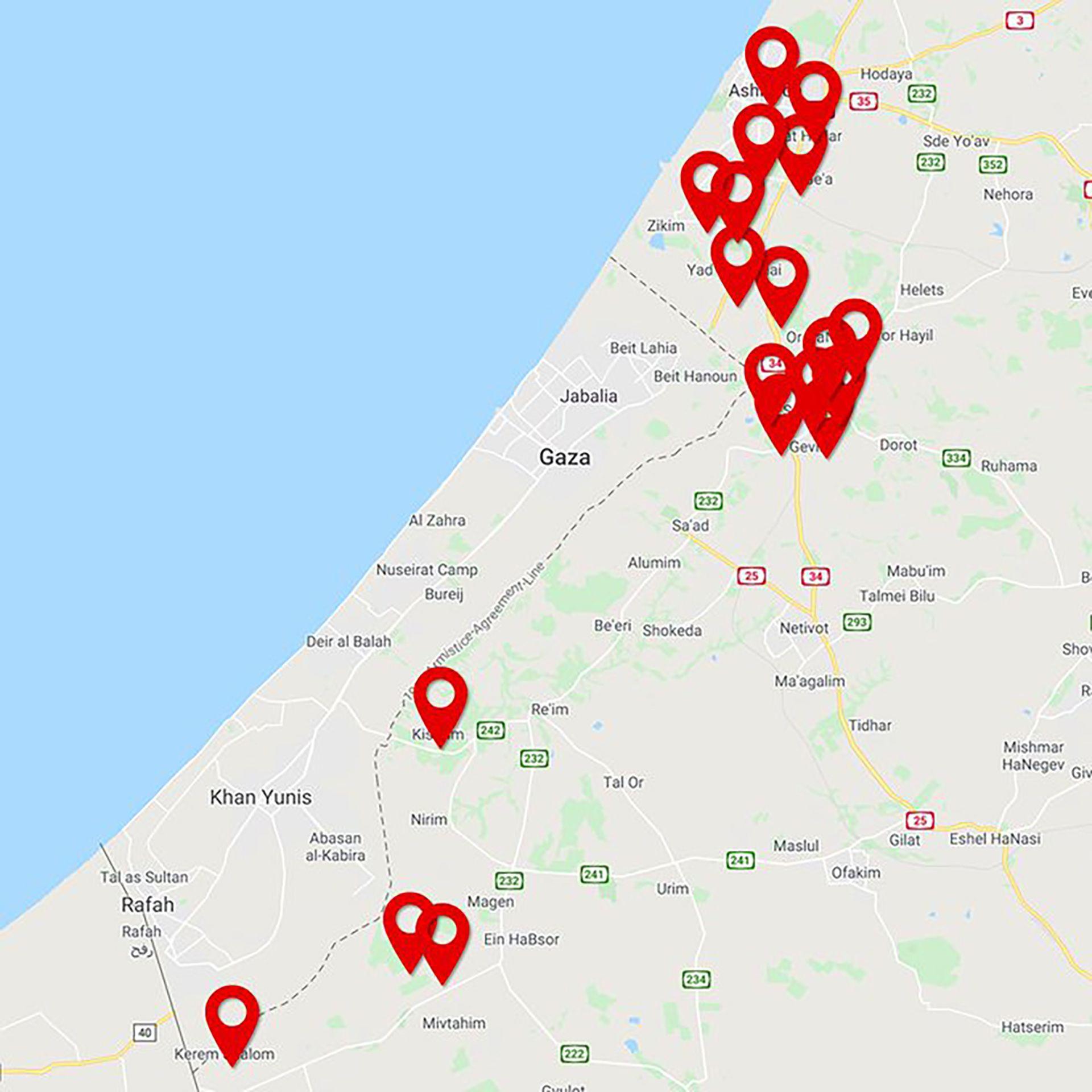 El Ejército de Israel mostró las ubicaciones donde fueron lanzados los cohetes