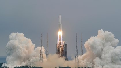 Long March-5B Y2 rocket, carrying the core module of China's space station Tianhe, takes off from Wenchang