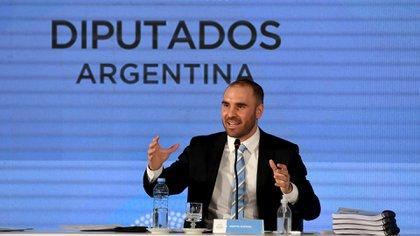 Martín Guzmán, esta tarde en la presentación del proyecto de Presupuesto 2021 en el Congreso