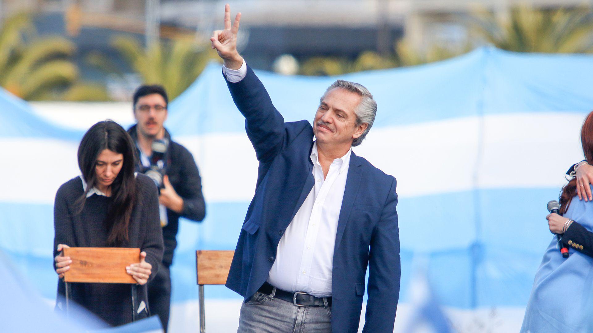 Alberto Fernández en campaña presidencial por La Pampa.
