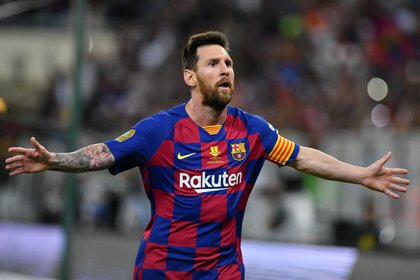 Lionel Messi celebra su gol ante el Atlético de Madrid por la Semifinal de la Supercopa de España (REUTERS/Waleed Ali)