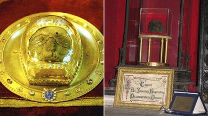 La cabeza atribuida a San Juan Bautista en la Catedral de Amiens, Francia. Y otra cabeza de San Juan Bautista en San Clemente in capite, Roma