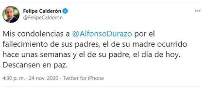 Hasta Felipe Calderón manifestó su respeto ante la pérdida (Foto: Twitter / @FelipeCalderon)