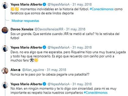 Así respondió Mario Yepes a algunos usuarios que le recordaron el caño de Riquelme en las redes sociales