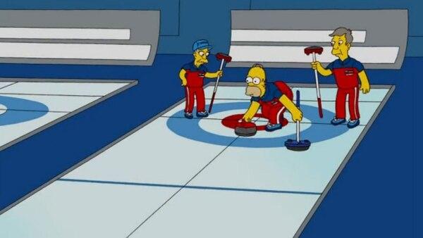 """El curling es tan popular que fue parte de un episodio de Los Simpson en la 21.ª temporada, titulado """"Campeones olímpicos"""""""