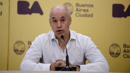 El jefe de Gobierno porteño, Horacio Rodríguez Larreta  habla durante una conferencia de prensa actualizando información respecto al corona virus en la Ciudad de Buenos Aires el lunes 9 de marzo de 2020. (Crédito: Adrian Escandar)