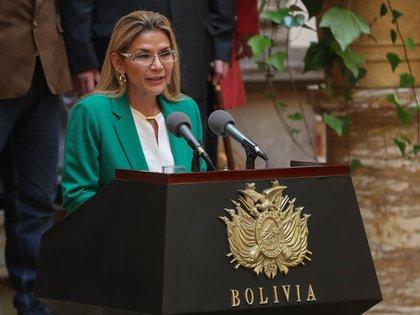 En la imagen, la presidenta interina boliviana, Jeanine Áñez. EFE/Martín Alipaz/Archivo