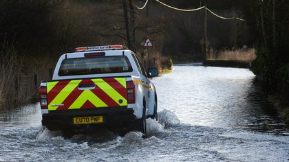 A truck rides through a flooded road after Storm Christoph hit Wales, in Tenby, Britain, January 21, 2021. REUTERS/Rebecca Naden