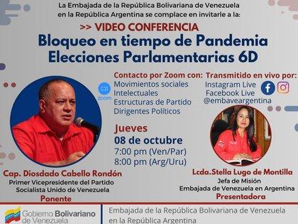 Diosdado Cabello participó en un foro virtual con representantes de la izquierda argentina