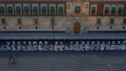 Muro en Palacio Nacional ante el 8M (FOTO: ANDREA MURCIA / CUARTOSCURO.COM)
