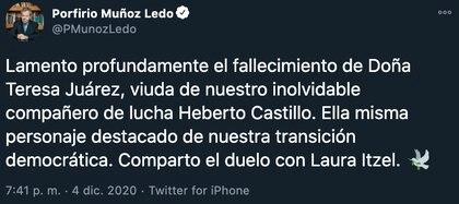 Políticos lamentaron el  fallecimiento Maestra Teresa Juárez (Foto: Twitter@PMunozLedo)