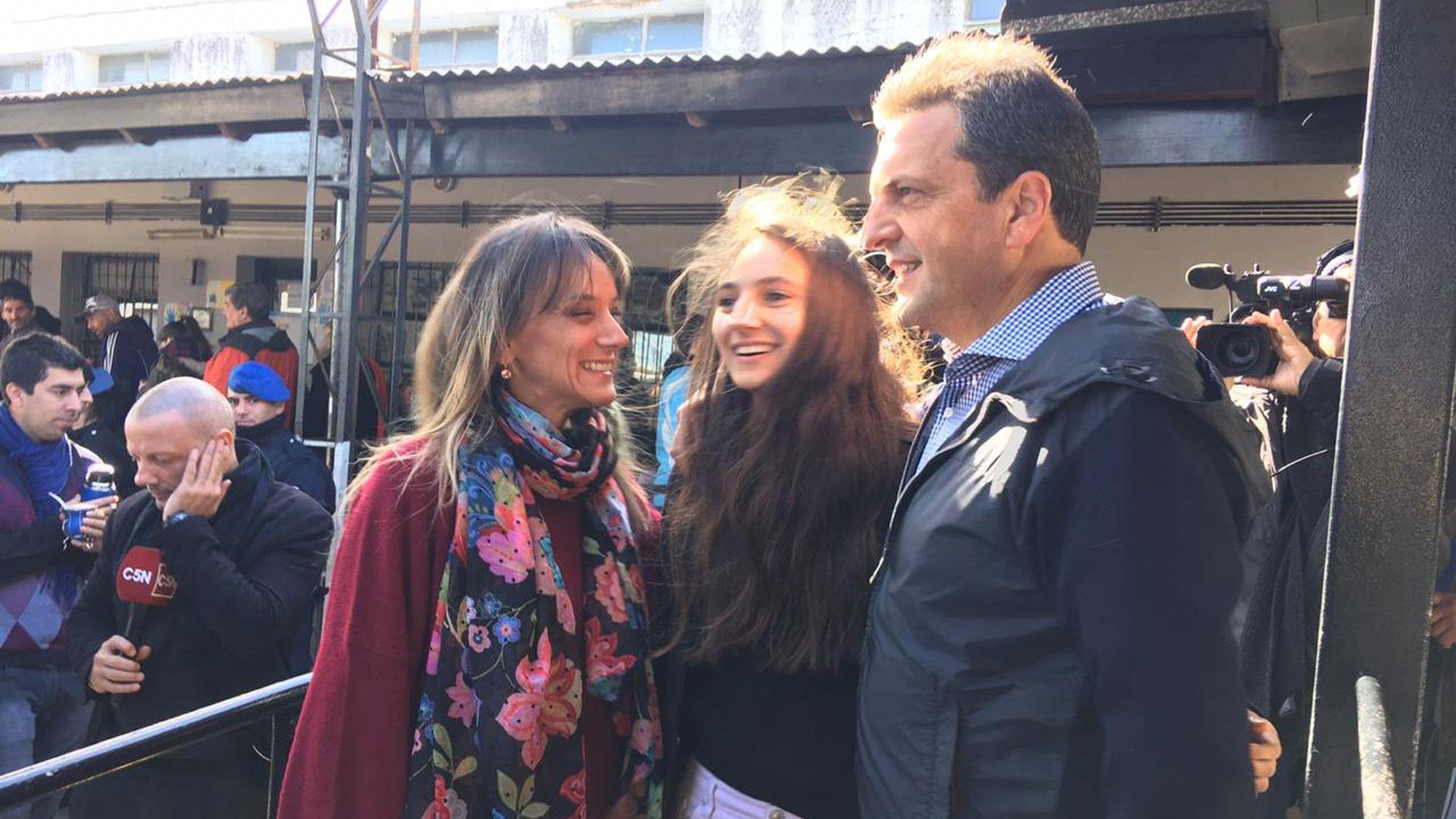 Malena Galmarini junto a su marido, Sergio Massa, y su hija